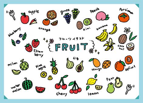 Fruit, fruit illustration set
