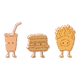 Junk food personification set