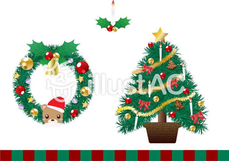 【フリーイラスト素材】クリスマスリースとクリスマスツリー