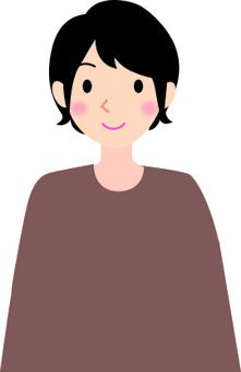 Female smile short hair