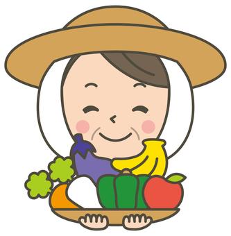 農夫老婦蔬菜