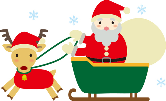 Santa Claus and reindeer sled