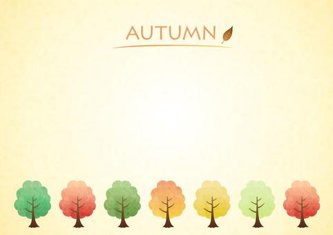 Autumn leaves, trees, postcards