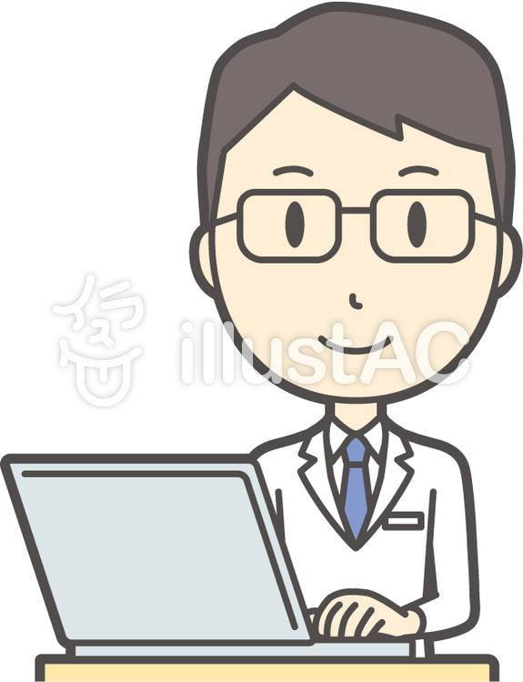医師青年眼鏡-005-バストのイラスト