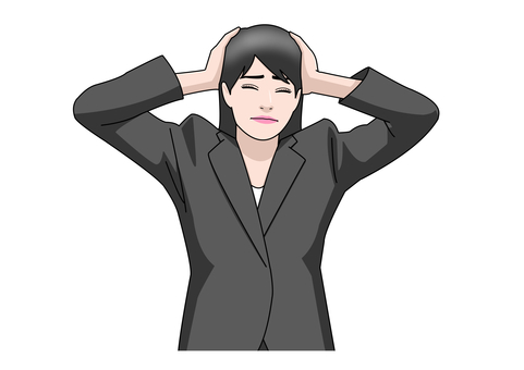 Business woman suit holding head