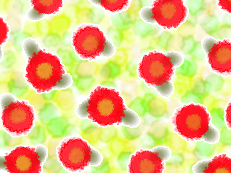Watercolor Japanese style flower wallpaper red