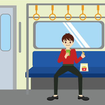 A man sitting on a seat in the train alone