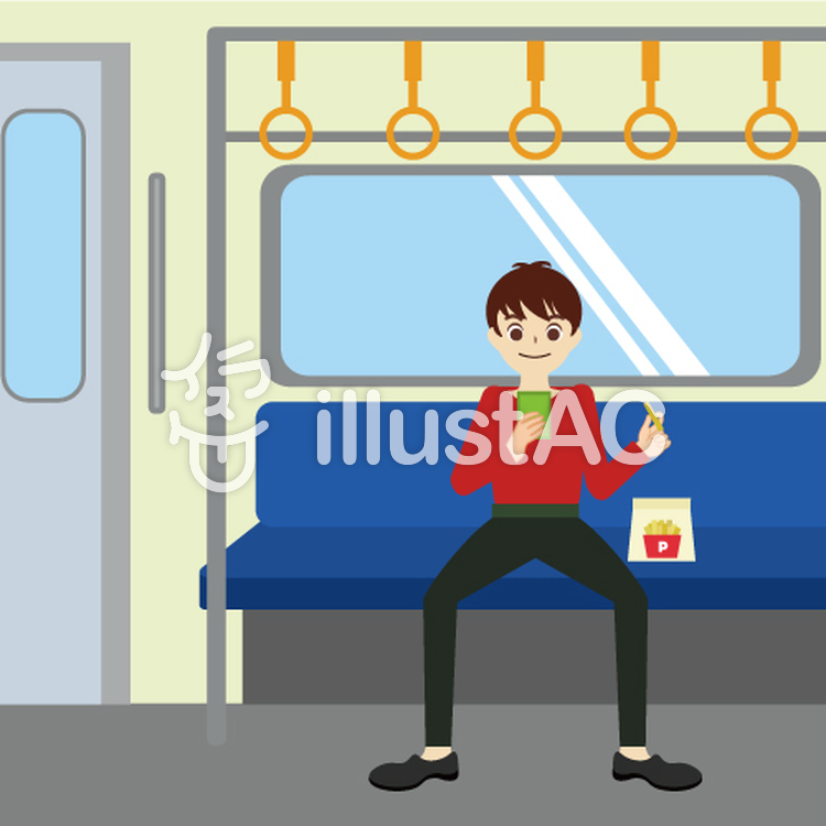 1人で電車内のシートに座っっている男性イラスト No 791917無料