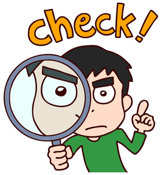 Illustration of check with magnifying glass