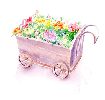 Rear car full of flowers