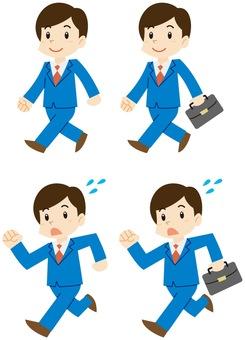 Walking / running businessman man set