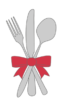 Illustration of a fork, a knife, a spoon