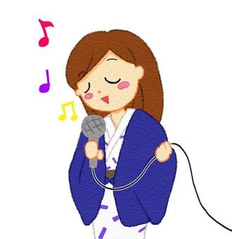 Woman singing in karaoke