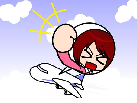 비행기와 여성 배경 첨부