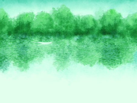 Watercolor style background material 01 / green