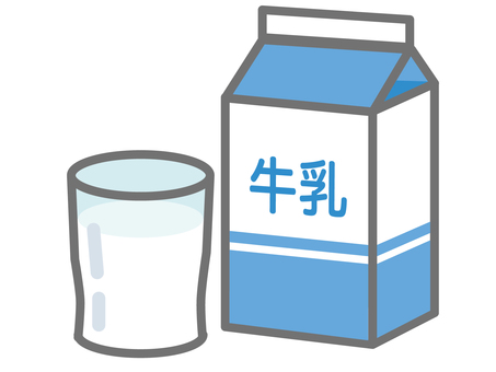 Milk carton and cup