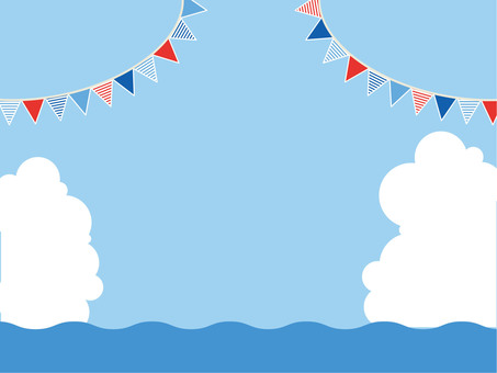 Sea and sky, clouds and flags 3