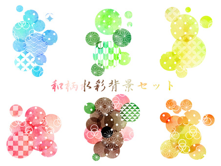 Japanese pattern water color background set ver 03