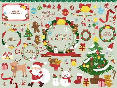 かわいいクリスマスパーツイラストセット
