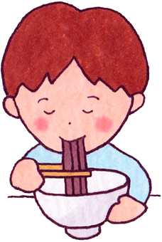 A boy who eats soba (Toshikoshi soba)