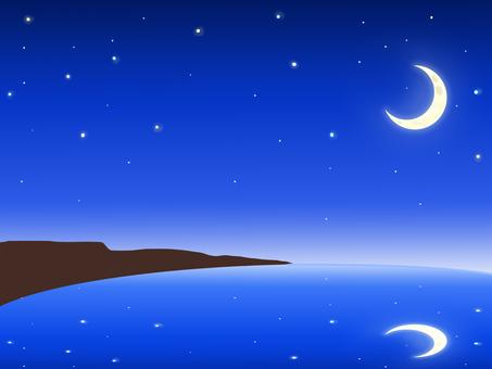 Crescent starry sky