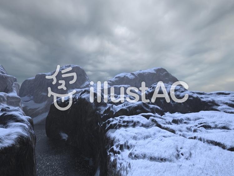 岩渓谷の雪景色のイラスト