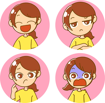 Facial expression set (circle)