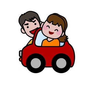 Couple riding a car