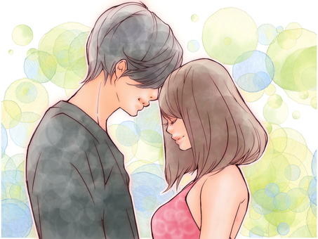 Love love couple (polka dots background)