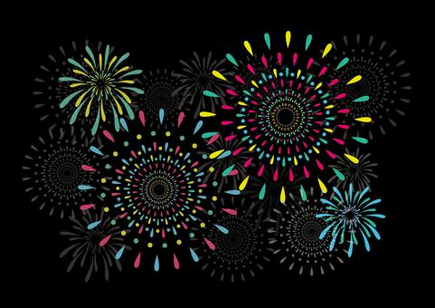 Vivid color fireworks illustration