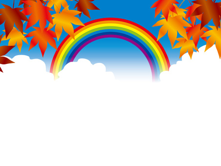 Rainbow and the Four Seasons (3) Autumn leaves and clouds in autumn