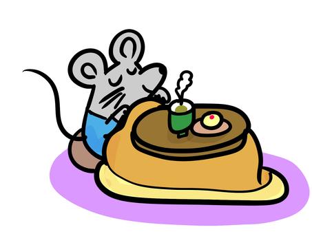 A rat relaxing in a kotatsu