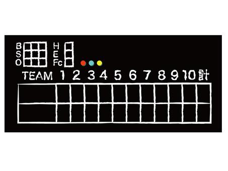 野球スコアボード黒黒板 手書き風デザイン