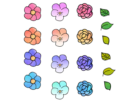 Watercolor painting flower material