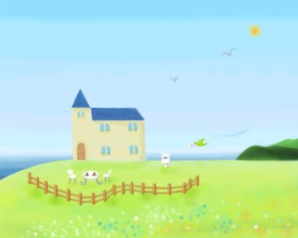 Illustration Seaside house Fairy style