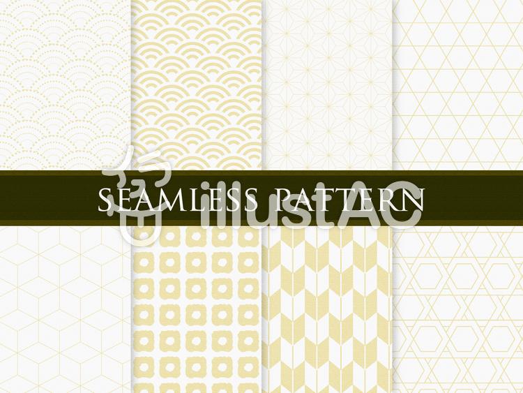 和柄パターン 金色のイラスト