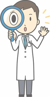 Young doctor - magnifying glass - whole body