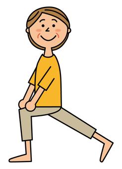 中年女子伸展雙腿