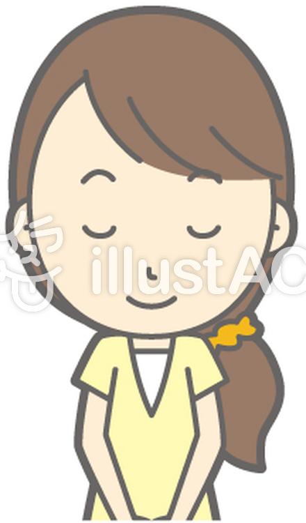 女性半ズボン-おじぎ笑顔-バストのイラスト