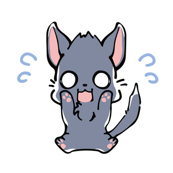 Deformed black cat illustration (Iruki)