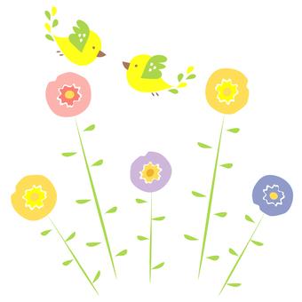 꽃과 작은 새