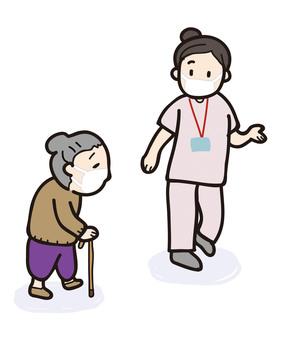 一位護士指導祖母