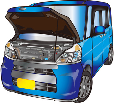 Light car with hood opened