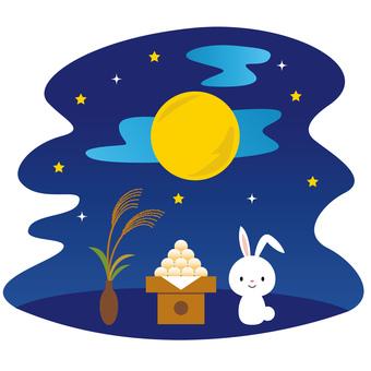 Moon viewing dumpling and Susuki and rabbit