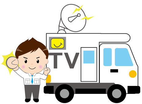 TV broadcasting vehicle - with people 2