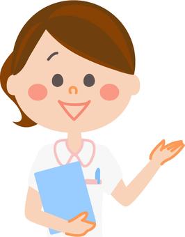 Nurse who raises one hand