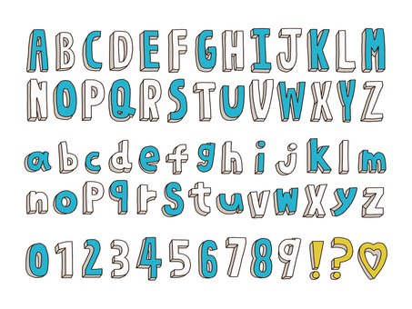 Cute hand-drawn alphabet and number set