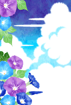 Watercolor-style morning glory post card