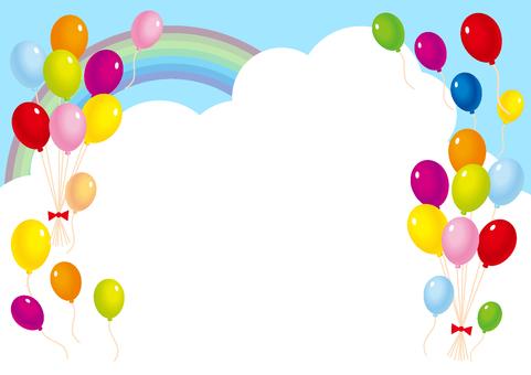 青空虹と風船と雲の風景フレーム枠