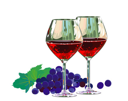 Grapes and wine glasses